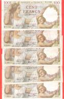 Lot De 5 Billets 100 Francs Sully états Corrects - 1871-1952 Circulated During XXth