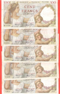Lot De 5 Billets 100 Francs Sully états Corrects - 1871-1952 Gedurende De XXste In Omloop