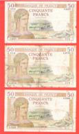 Lot De 5 Billets 50 Francs Cérès états Corrects - 1871-1952 Gedurende De XXste In Omloop