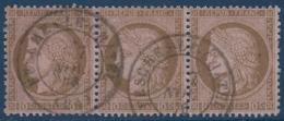 CERES 1871 N°54 10c Brun Sur Rose Bande De 3 Oblitéré Dateur De Fesches Le Chatel RR Superbe - 1871-1875 Cérès
