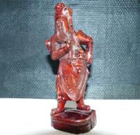 """Statuette Chinoise """"Guerrier """" En Bois Exotique - Art Asiatique"""