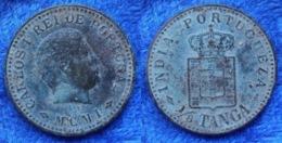 PORTUGUESE INDIA - 1/8 Tanga MCMI (1901) KM# 14 Carlos I (1889-1908) Bronze Coin - India