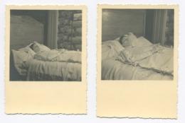 E123 Lot De 2 Photographie Post-mortem Lit De Mort - Persone Anonimi