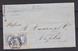 N° 31 Paire  / Lettre D ANVERS STATION  Vers Naples OBLITERATION NON REGLEMENTARE ( Lsc ) - 1869-1883 Léopold II