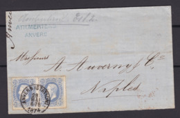 N° 31 Paire  / Lettre D ANVERS STATION  Vers Naples OBLITERATION NON REGLEMENTARE ( Lsc ) - 1869-1883 Leopold II