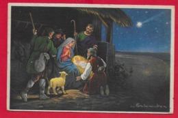 CARTOLINA ITALIA VG - Natività - Adorazione Del Bambino Gesù - 9 X 14 - 1924 ALLAIN - AOSTA - Natale