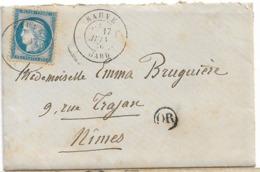GARD SAUVE TYPE 18 CERES 1876 OR VIBRAC Avec Courrier - 1849-1876: Periodo Clásico