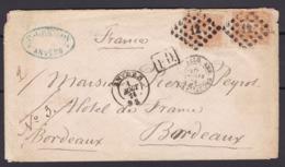 N° 33 ( 2 )  / Lettre D ANVERS  Vers Bordeaux Marque PD  ( Lsc ) - 1869-1883 Leopold II