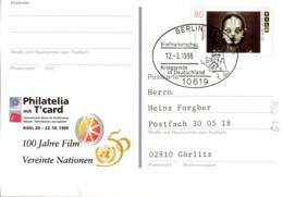 """BRD Amtl.GZS-Sonderpostkarte PSo 39 """"Philatelia Mit T'card, Köln"""" WSt """"100 Jahre Deutscher Film"""" SSt 12.3.1996 BERLIN 12 - Cartoline - Usati"""