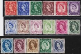 Great Britain  . Yvert .   262/278  (1952-54)      .   **   .    MNH   .   /  .   Postfris - 1952-.... (Elisabeth II.)
