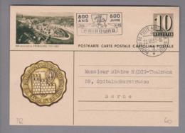 Schweiz Ganzsache Bildpostkarte Fribourg S-O 1957-06-22 übereinstimmend M.Vignette - Postwaardestukken