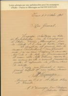 LETTRE ECRITE PAR UNE AMBULANCIERE AU GENERAL DE GAULLE CAMPAGNES D'ITALIE - Francia