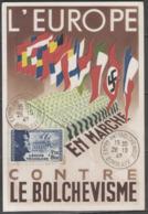 """N°565 """"légion Tricolore, Bleu"""" Sur Carte Maximum De 1942 (expo.antibolchevique, Bordeaux, A1) ! - 1940-49"""