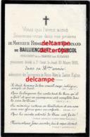 Mortuaire Comte Rodolphe De Bailliencourt Dit Courcol Décéde SAINT Omer 1893 President Chambre Des Notaires Noblesse - Santini