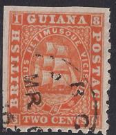 British Guiana 1863 - 76 QV 2ct Orange Used SG 87 ( G1010 ) - British Guiana (...-1966)
