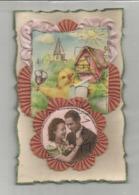 Carte Artisanale Textile Et Médaillons: Poussin Et Couple. Plastifiée. - Brodées