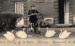 Rare CPA - Chasse Aux Canards - Appelant - Hutte - Chasseur - Taxidermiste - Cygnes - Fusil - TRELON - 59 - Nord - Chasse