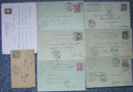 Entier Postal Lot De 8 Entiers Postaux France, Types Divers, Oblitérés - 1 Carte Lettre A été Pliée - Biglietto Postale