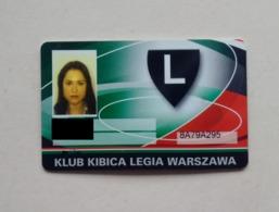 Poland Pologne Legia Warszawa Fan Club Card Carte Football Soccer - Otras Colecciones