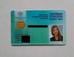 Poland Pologne Student Identity Card SGGW Warsaw Varsovie - Sonstige