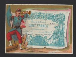 CHROMO * HIRSCH & CIE * BRUXELLES * SOLDAT FRANCAIS * BANQUE DE FRANCE * CENTS FRANCS * 10.5 X 8 CM - Autres
