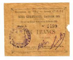 1914-1918 // Commune De VITRY-EN-ARTOIS (Pas De Calais) // Février 1915 // Bon De 10 Francs - Bons & Nécessité