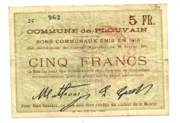 1914-1918 // Commune De PLOUVAIN (Pas De Calais) // Février 1915 // Bon De 5 Francs - Bons & Nécessité