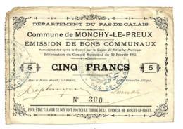 1914-1918 // Commune De MONCHY-LE-PREUX (Pas De Calais) // Février 1915 // Bon De 5 Francs - Bons & Nécessité