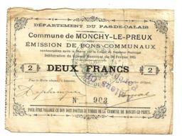 1914-1918 // Commune De MONCHY-LE-PREUX (Pas De Calais) // Février 1915 // Bon De 2 Francs - Bons & Nécessité
