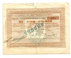 1914-1918 // Commune De MONTREUIL-SUR-MER (Pas De Calais) // Décembre 1914 // Bon De 5 Francs // ANNULE - Bons & Nécessité