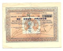 1914-1918 // Commune De MONTREUIL-SUR-MER (Pas De Calais) // Mars 1914 // Bon De 2 Francs // ANNULE - Bons & Nécessité