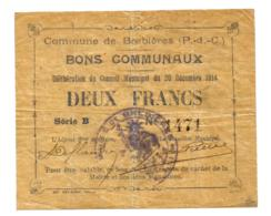 1914-1918 // Commune De BREBIERES (Pas De Calais) // Décembre 1914 // Bon De 2 Francs - Bons & Nécessité
