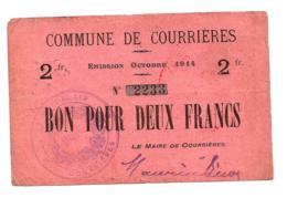 1914-1918 // Commune De COURRIERES (Pas De Calais) // Octobre 1914 // Bon De 2 Francs - Bons & Nécessité