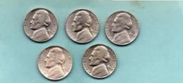 Jefferson  5 Pieces  ;1943-1963-1964-64 1974 - Emissioni Federali