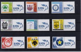 GREECE STAMPS PERSONAL STAMP WITH ELTA LOGO LABEL/FAMOUS SPORTS CLUBS 2005,2006,2007,2008-MNH-COMPLETE 4 SETS - Grecia