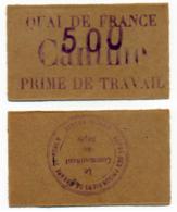 1914-1918 // P.O.W. // Bon De Prisonnier De Guerre // ROUEN / QUAI DE FRANCE // Bon De Cinq Francs - Bons & Nécessité
