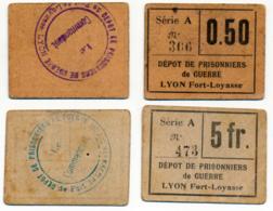 1914-1918 // P.O.W. // Bon De Prisonnier De Guerre // LYON / FORT-LOYASSE // Bon De 50 Cts & 5 Francs - Bons & Nécessité
