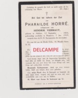 DOODSPRENTJE HORRé PHARAILDE ECHTGENOTE VERMAUT HALLUIN RUMBEKE 1856 - 1929  Bewerkt Tegen Kopieren - Images Religieuses