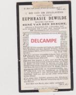 DOODSPRENTJE DEWILDE EUPHRASIE WEDUWE VAN DEN BERGHE ROESELARE 1847 - 1927  Bewerkt Tegen Kopieren - Devotion Images