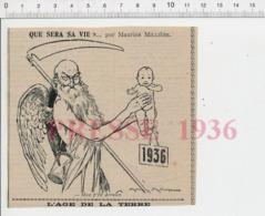 Humour Fauche-la-Mort Vieillard Avec Ailes D'ange Faux Outil Sablier Naissance Bébé Année 1936  CHV20 - Zonder Classificatie