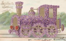 CPA Gaufrée Locomotive à Vapeur Chemin De Fer Fleur Violettes Embossed Fantaisie (2 Plans) - Other