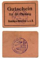 1914- 1918 // P.O.W. // Bon De Prisonnier De Guerre RUSSE // RUMÄNEN-BATAILLON A.A.B. // 10 Pfennig - Bons & Nécessité