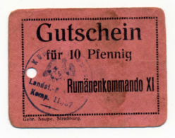 1914- 1918 // P.O.W. // Bon De Prisonnier De Guerre RUSSE // RUMÄNENKOMMANDO XI // 10 Pfennig - Bons & Nécessité