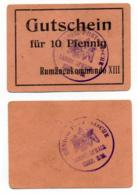 1914- 1918 // P.O.W. // Bon De Prisonnier De Guerre RUSSE // RUMÄNENKOMMANDO XIII // 10 Pfennig - Bons & Nécessité