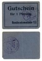 1914- 1918 // P.O.W. // Bon De Prisonnier De Guerre RUSSE // RUMÄNENKOMMANDO XIII // 1 Pfennig - Bons & Nécessité