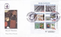 """BOLIVIA FIRST DAY COVER - """"ECOBOL - DIA DEL FILATELISTA"""". YEAR 2006. SOBRE DEL PRIMER DIA CON HOJA BLOC -LILHU - Bolivia"""