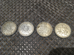 - Monnaies Argent - 1 Franc - Lot De 4 Pièces De 1916 à 1919 - - France