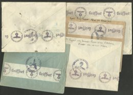 Lot De 5 Enveloppes >>> Croix Rouge à Genève 1940 / Bande Censure De La Wehrmacht Au Verso - Postmark Collection (Covers)