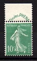 """SEMEUSE  FOND  PLEIN  -  1924 / 26  -  Type III  Avec  Bandelette  """" PHENA """" , N° 188 ** . - Unused Stamps"""
