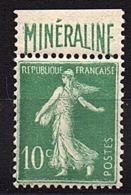 "SEMEUSE  FOND  PLEIN  -  1924 / 26  -  Type III  Avec  Bandelette  "" MINERALINE "" , N° 188 A ** . - Unused Stamps"